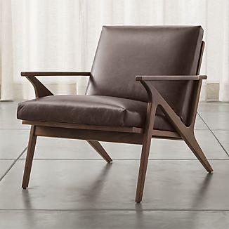 Cavett Leather Wood Frame Chair