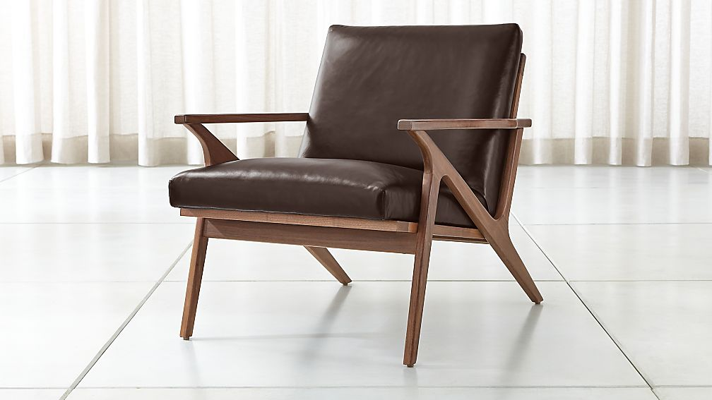 Cavett Leather Wood Frame Chair - Image 1 of 12