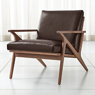 Cavett Leather Wood Frame Chair