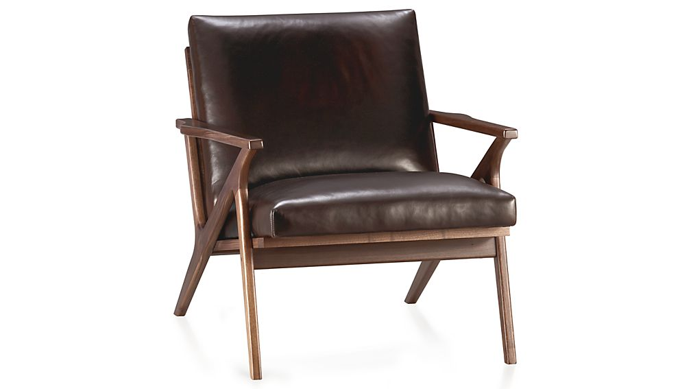 cavett leather wood frame chair reviews crate and barrel. Black Bedroom Furniture Sets. Home Design Ideas