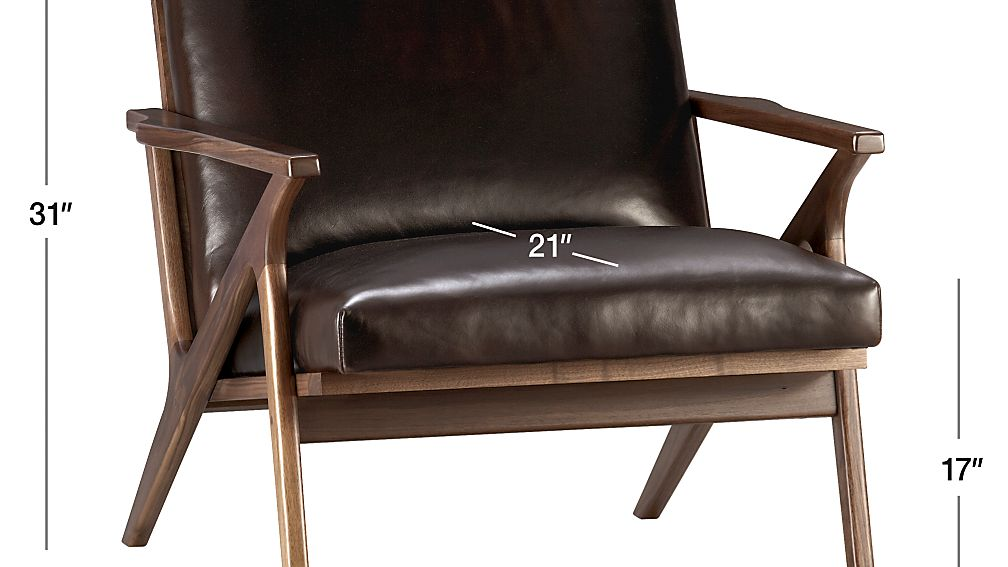 Image with dimension for Cavett Leather Wood Frame Chair