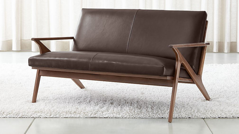 Cavett Leather Wood Frame Loveseat