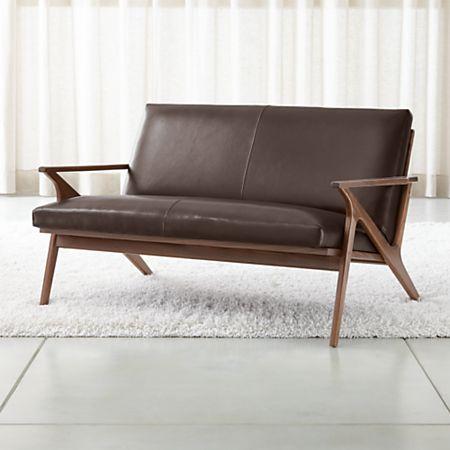 Cavett Leather Wood Frame Loveseat