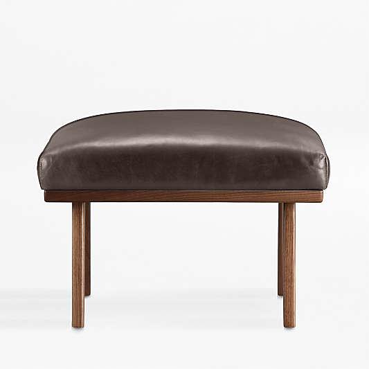 Cavett Leather Wood Frame Ottoman