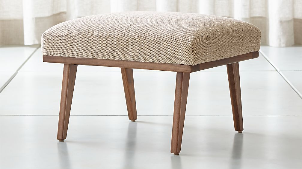Cavett Wood Frame Ottoman + Reviews   Crate and Barrel