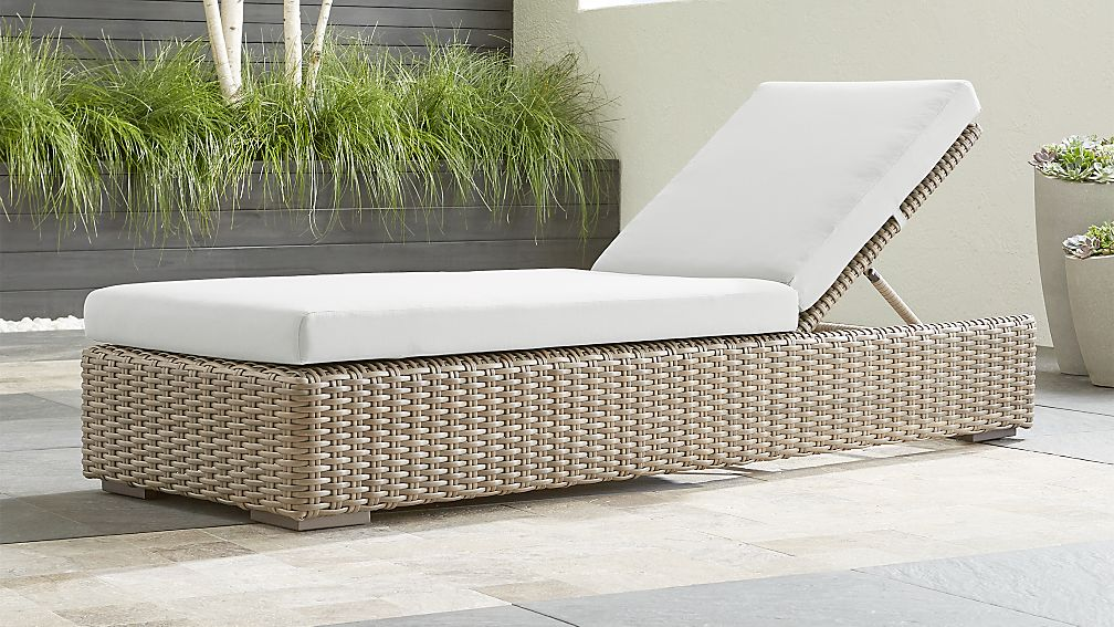 Cayman Outdoor Chaise Lounge with White Sand Sunbrella ® Cushion - Image 1 of 7