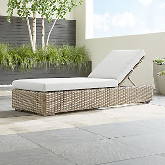 Cayman Outdoor Chaise Lounge With White Sand Sunbrella Cushion
