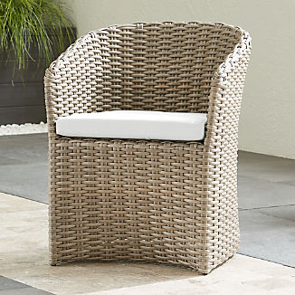 Cayman Outdoor Dining Chair with White Sand Sunbrella ® Cushion