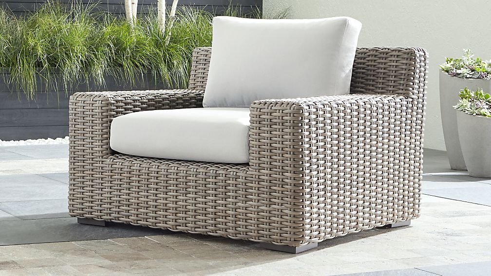 Cayman Outdoor Lounge Chair with White Sand Sunbrella ® Cushions - Image 1 of 6