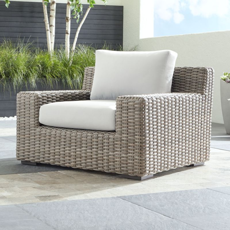 Cayman Outdoor Lounge Chair with White Sand Sunbrella ...