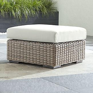 Cayman Outdoor Ottoman with White Sand Sunbrella ® Cushion