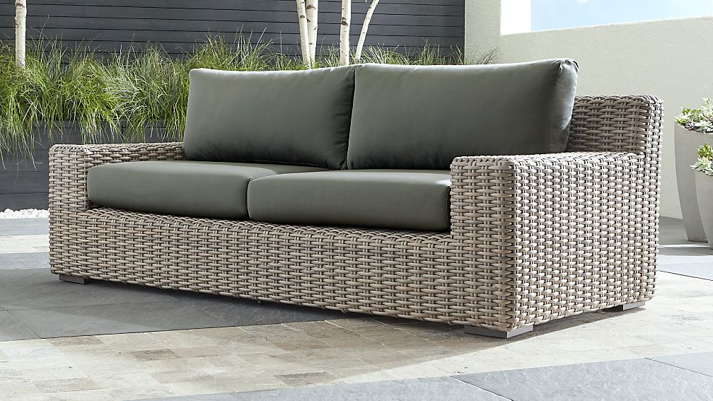 Cayman Outdoor Sofa With Graphite Sunbrella Cushions Reviews Crate And Barrel