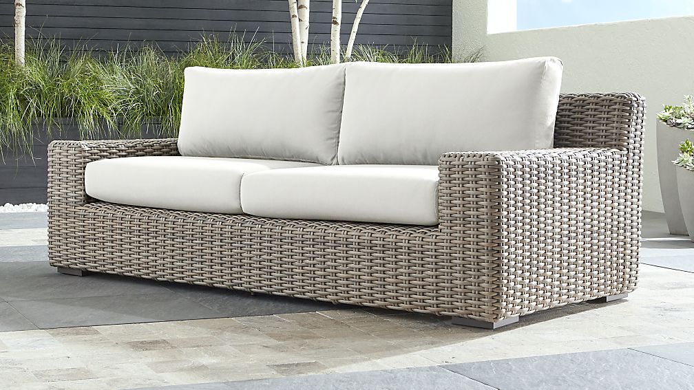 Caymen Outdoor Sofa With White Sunbrella Cushions Reviews Crate And Barrel