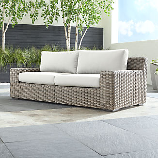 Cayman Outdoor Sofa With White Sand Sunbrella Cushions