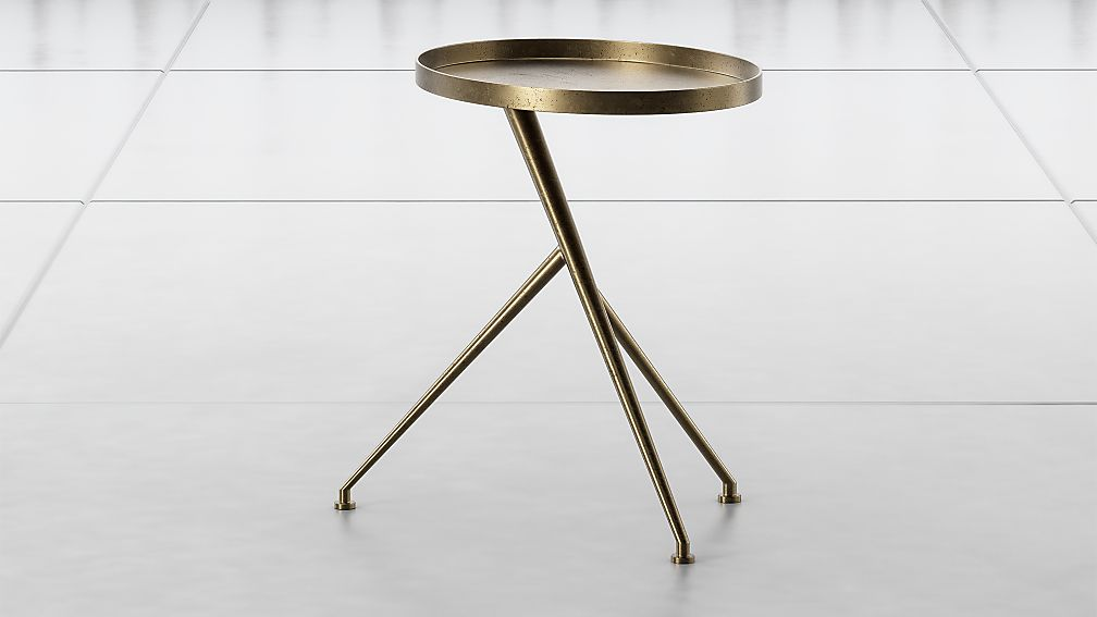 Cecilia Raw Brass Metal Accent Table - Image 1 of 6