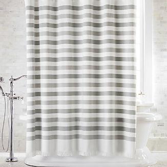 Cedros Grey Stripe Fringe Shower Curtain