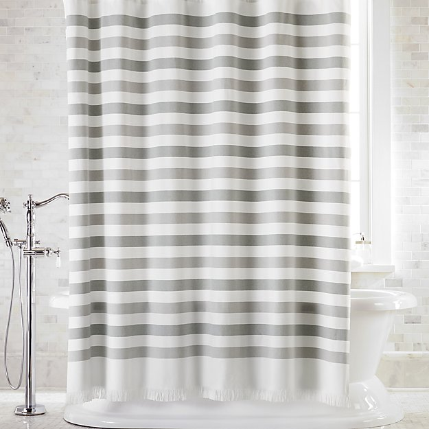Cedros Grey Stripe Fringe Shower Curtain - Image 1 of 3