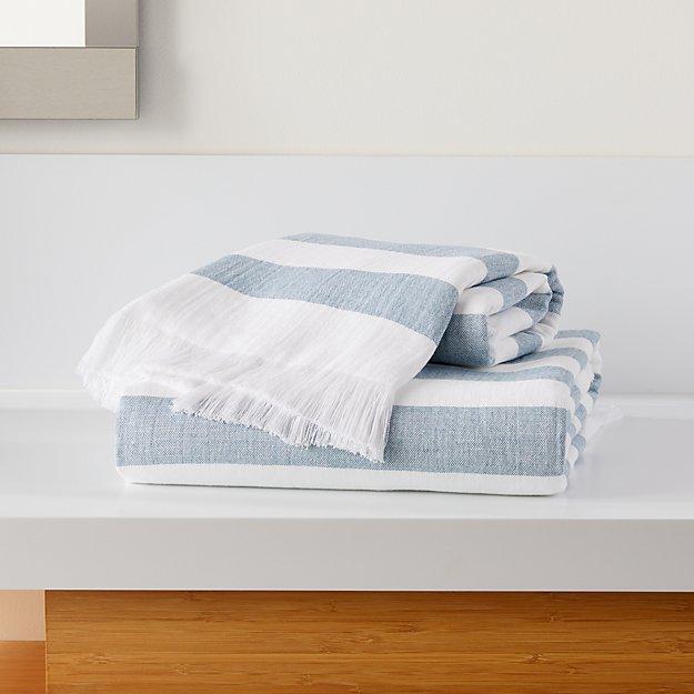 Cedros Blue Hammam Bath Towels - Image 1 of 3