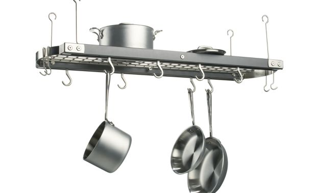 Jk adams large grey ceiling pot rack crate and barrel first measure and mark the location the brackets need to be installed on the ceiling install the brackets onto the ceiling using a ceiling anchor mozeypictures Images