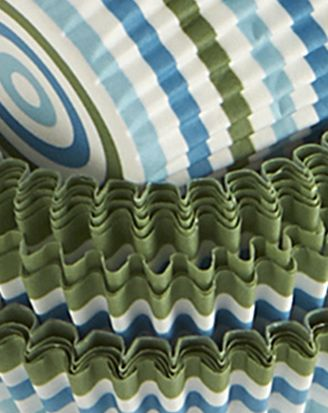 Blue and Green Stripe Cupcake Wrappers