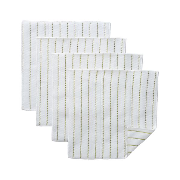 Set of 4 Celery Stripe Scrub Cloths