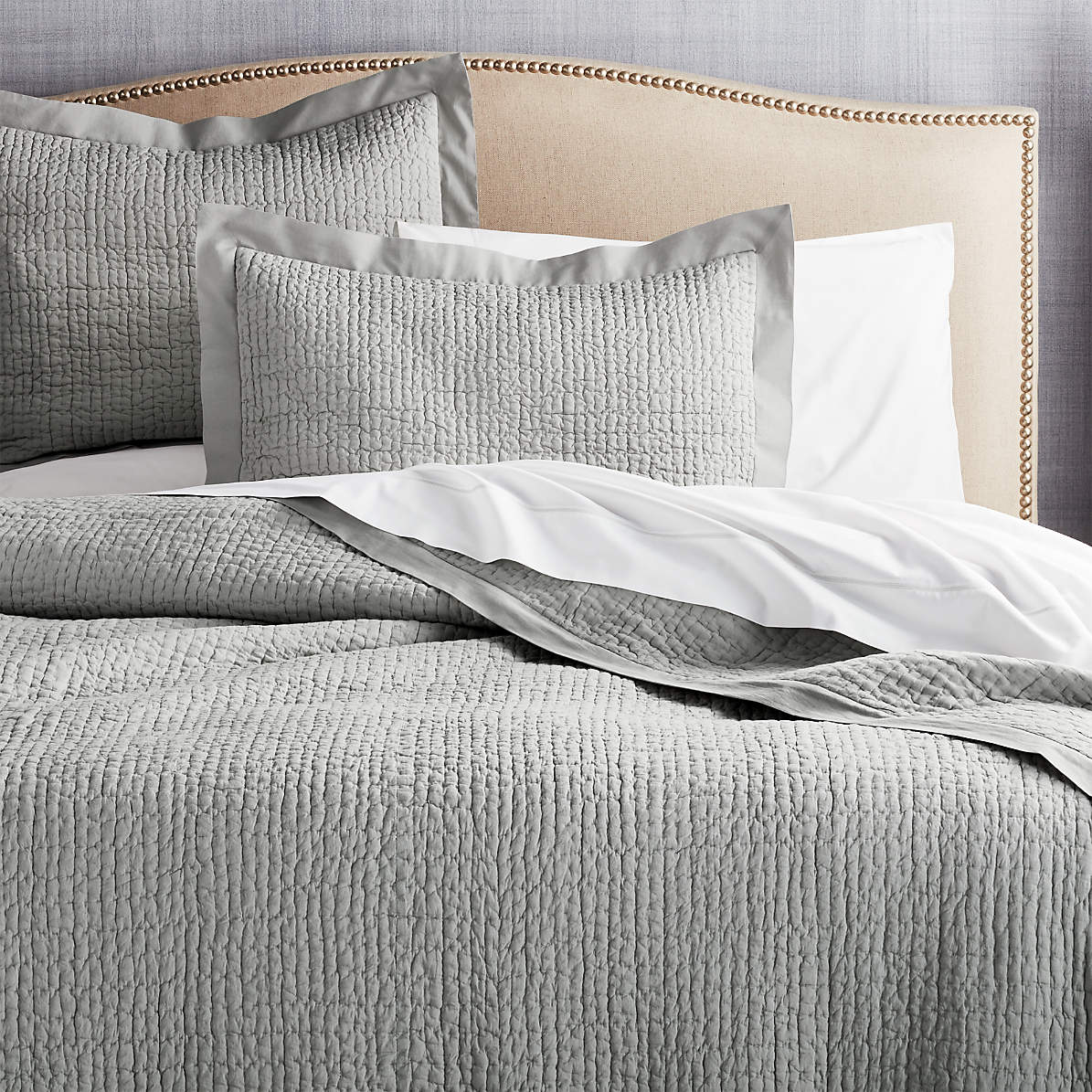 Celeste Grey Solid Quilts And Pillow Shams Crate And Barrel