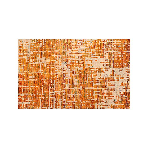 Celosia Orange Hand Knotted Rug 5'x8'