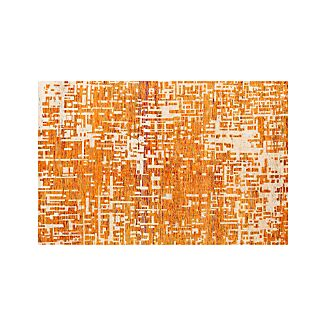 Celosia Orange Hand Knotted Rug 6'x9'