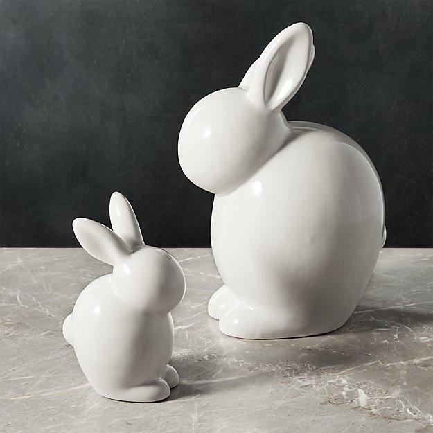 White Ceramic Bunnies  e9d73cc44