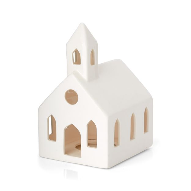 White Ceramic Church - Come explore White Swedish Farmhouse Christmas & Scandinavian Holiday Decor Simplicity. #swedishchristmas #scandinavian #holidaydecor