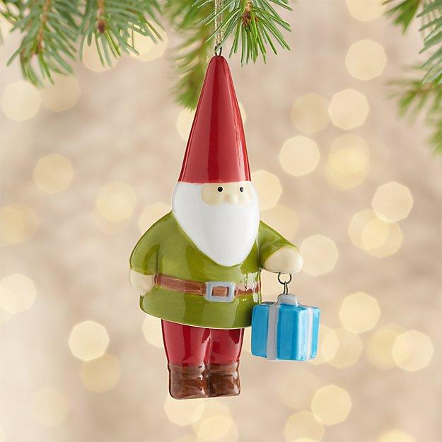 Ceramic Dangle Legs Gnome Ornament with Present