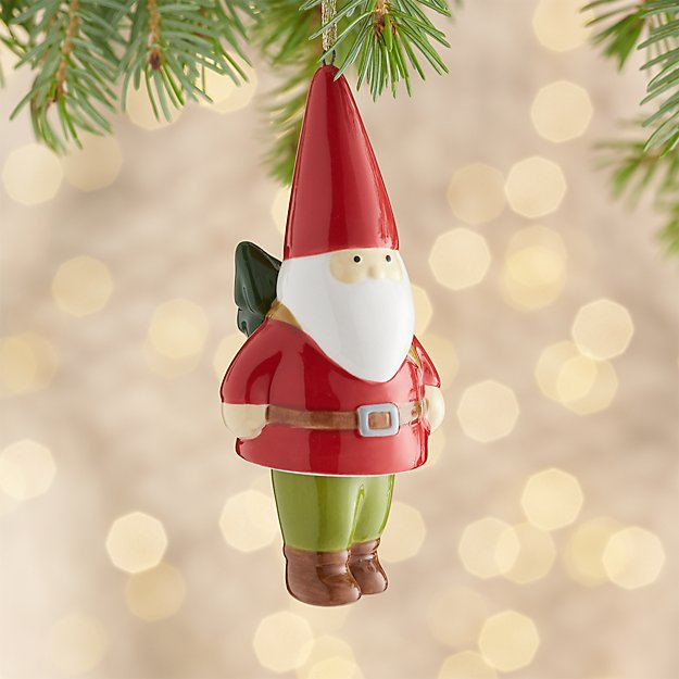 Ceramic Dangle Legs Gnome Ornament with Tree