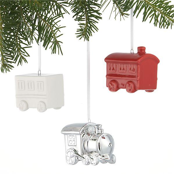 Set of 3 Ceramic Train Car Ornaments
