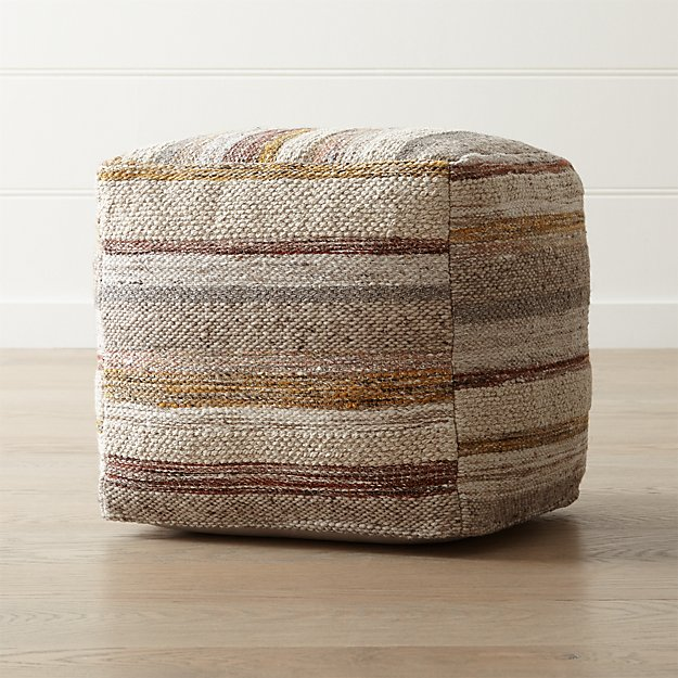 ceres desert 18 x18 pouf reviews crate and barrel. Black Bedroom Furniture Sets. Home Design Ideas