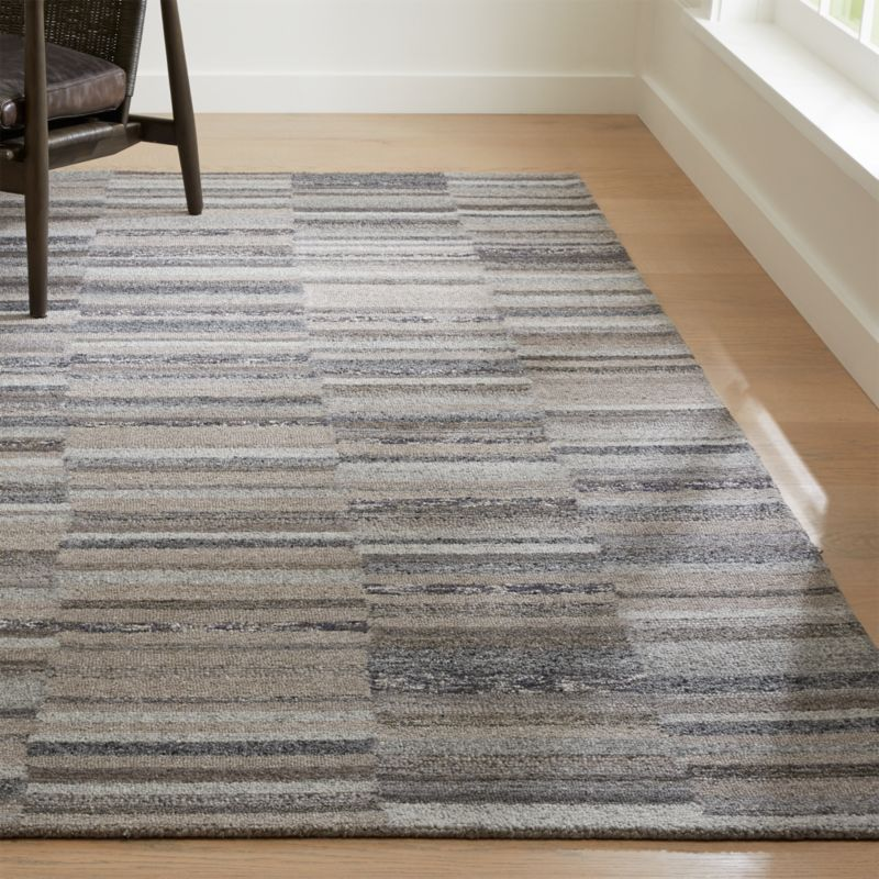 Marvelous Ceres Granite Grey Striped Rug