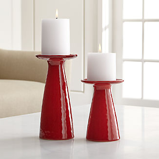 Cerise Short Red Candle Holder