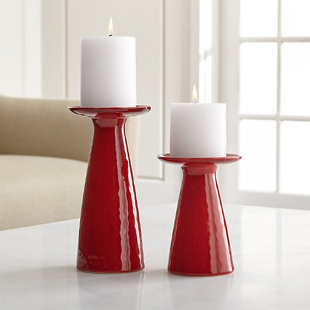 Cerise Red Pillar Candle Holders - Image 1 of 11