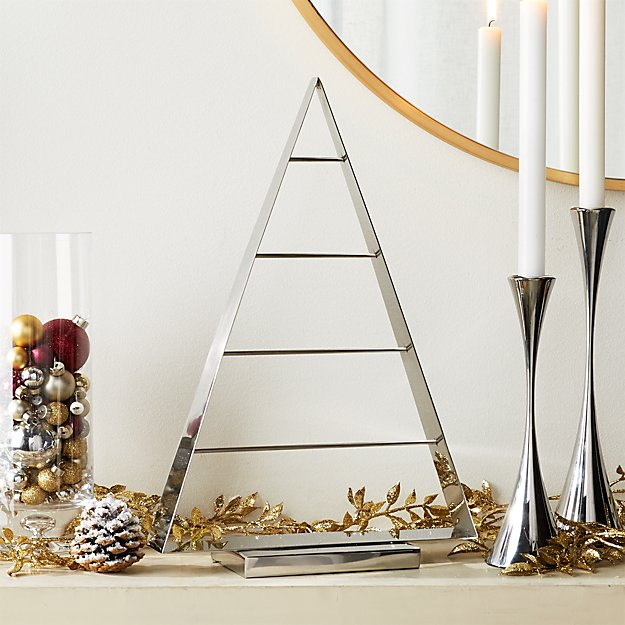 Chalet Small Silver Ornament Tree + Reviews | Crate and Barrel
