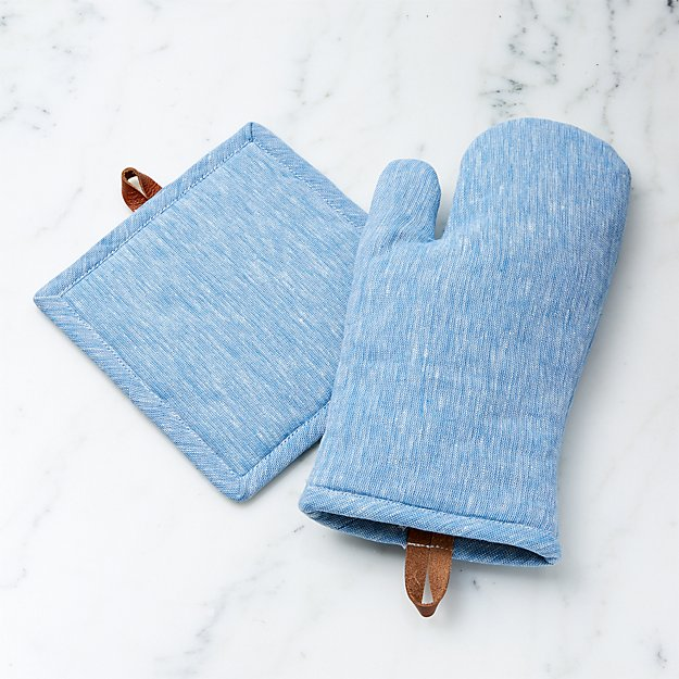 Chambray Blue Oven Mitt and Pot Holder - Image 1 of 2