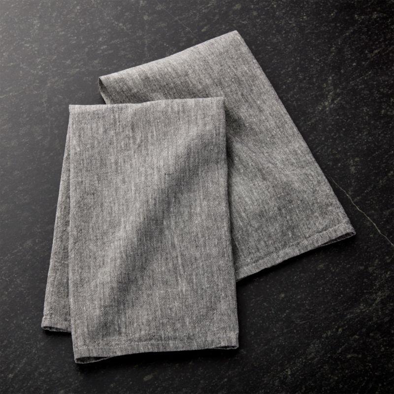 Grey Dish Rags: Chambray Grey Dish Towels, Set Of 2 + Reviews