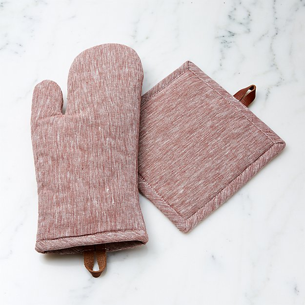 Chambray Henna Oven Mitt and Pot Holder - Image 1 of 2