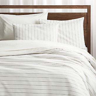 Chandler Pinstripe Duvet Covers and Pillow Shams. New Bed and Bath   Crate and Barrel