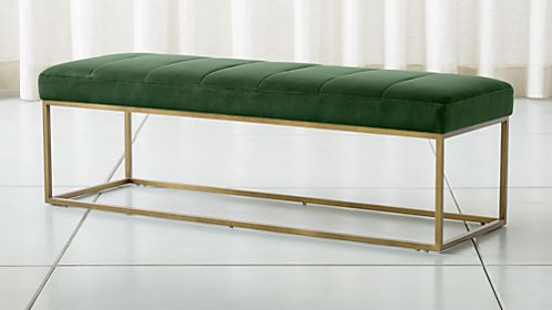 Channel Dark Green Velvet Bench