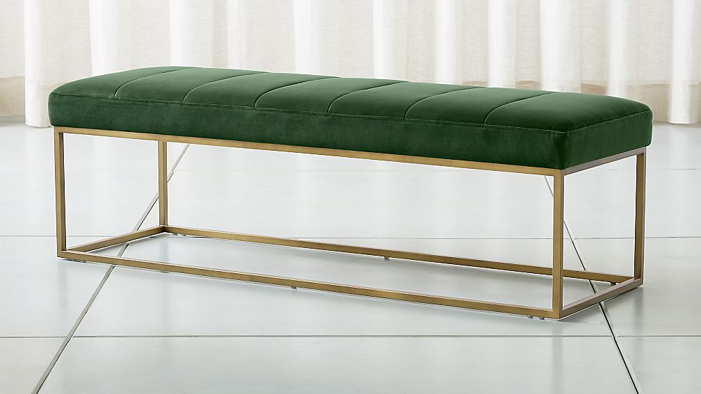 Channel Dark Green Velvet Bench - Image 1 of 7