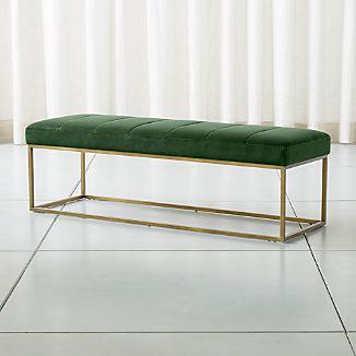 Channel Dark Green Velvet Bench with Brass Base