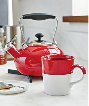 Chantal ® Red Bridge Steel Enamel Tea Kettle