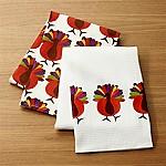 Cheerful Turkeys Dish Towels, Set of 2