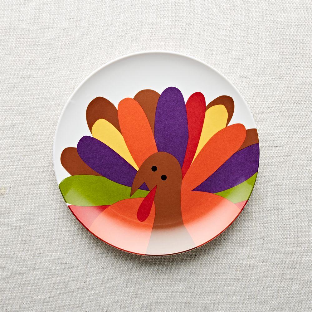 Cheerful Turkey Melamine Dinner Plate
