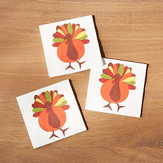 Cheerful Turkey Paper Beverage Napkins, Set of 20