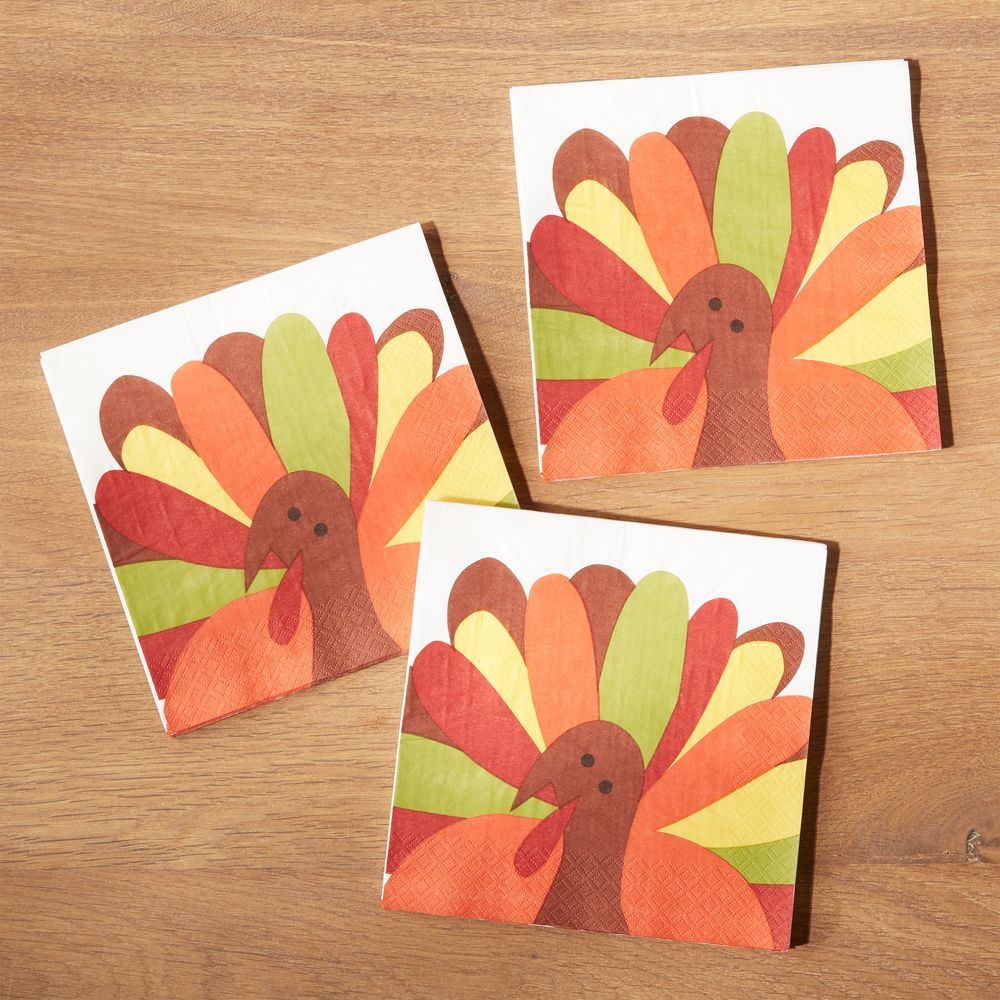 Cheerful Turkey Paper Lunch Napkins, Set of 20